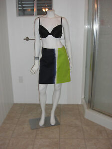 Elie-Tahari-Behnaz-Skirt-Sz-2-Navy-Blue-Lime-Green-Cotton-Above-Knee-Zippered