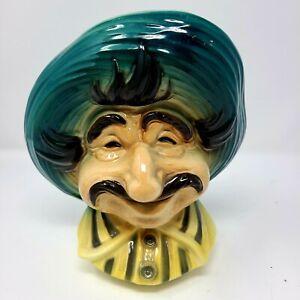 """Vintage Royal Copley Tony Italian Man Pottery Head Vase Wall Pocket Planter 8.5"""""""
