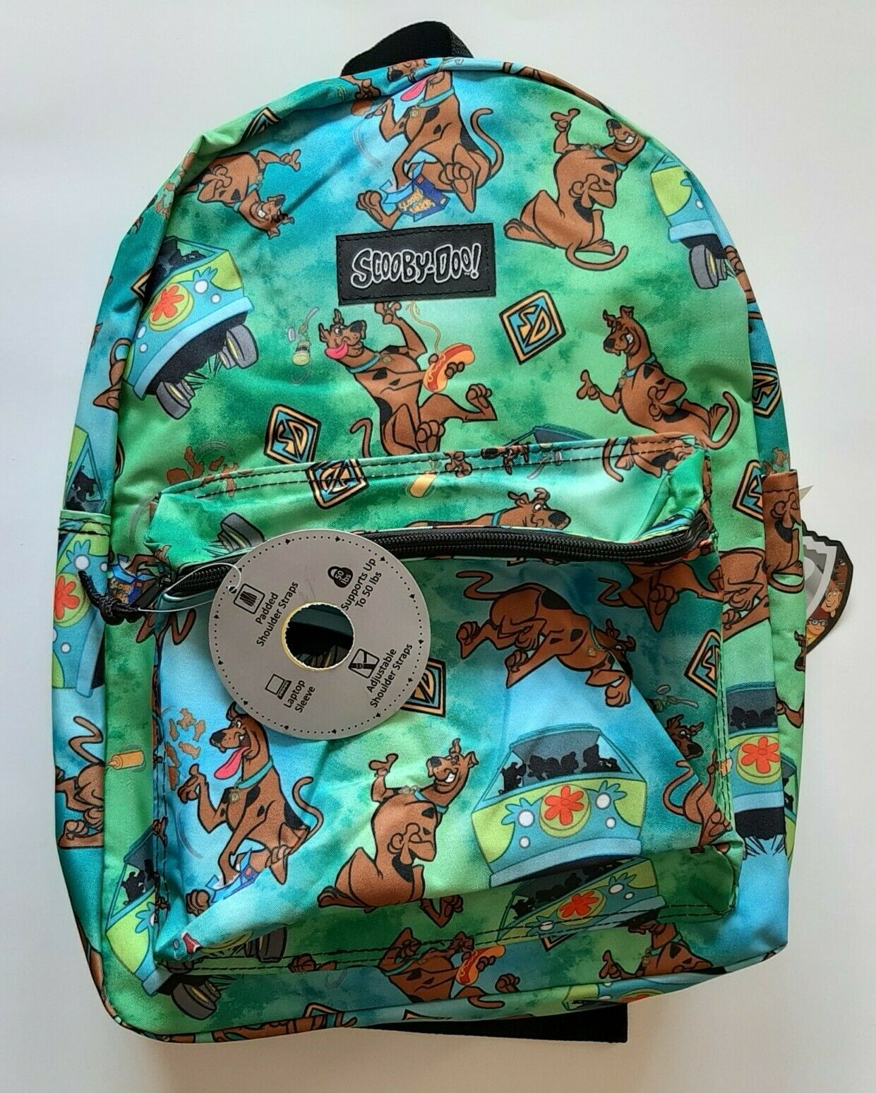"NEW Scooby-Doo Backpack 16/"" All Over Print School Book Bag Green"