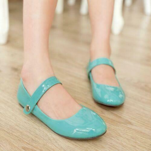 Womens Mary Janes Casual Flat Round Toe Court Pumps Strap Shoes plus size