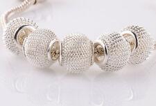 5pcs silver gauze hollow big hole spacer beads fit Charm European Bracelet C#942