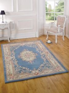 Aubusson Lotus Premium Wool Rugs Blue Traditional Hand Carved