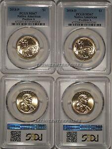 2019 P /& D Native Sacagawea Dollar 4 Coin Set $1 PCGS MS66 Position A /& B