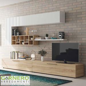 Dettagli su Parete attrezzata ESMERALDA bianco/legno mobile tv moderno casa  soggiorno sala