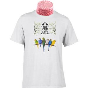 Budgie-Regalo-camiseta-Keep-Calm-Y-Amor-periquitos-pajaros-en-un-fresco-colorido-Tee