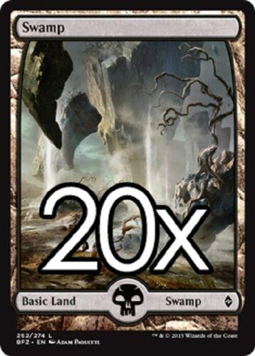 20 Battle for Zendikar Swamp # 262 MTG Basic Full Art Land Lot Magic