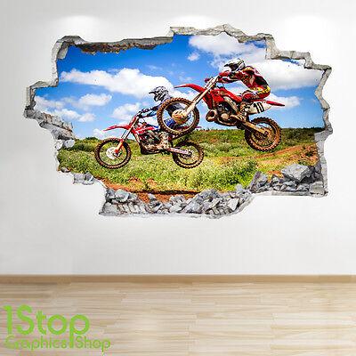 Garçons Chambre D/'Enfant Sport Extreme Z109 Moto Autocollant Mural 3D Look