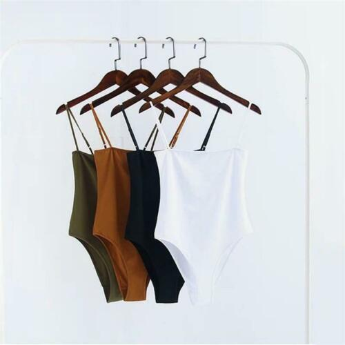 Womens Sleeveless Stretch Bodysuit Ladies Leotard Spaghetti Strap Jumpsuit Top Q