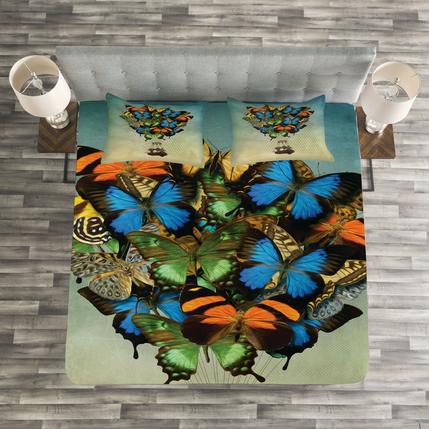Butterfly Quilted Bedspread & Pillow Shams Set, Spring Season Animals Print