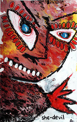 original LABEDZKI abstract painting outsider art SHE-DEVIL 5x8 inch on paper