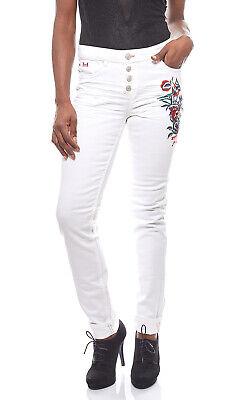 angesagte Damen Jeans-Hose mit Blumenstickereien Trend-Hose Hose Weiß H.I.S