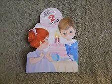 Vintage Birthday Card Hallmark 10B 192-4 / 2 Year Old, Little Boy & Girl, Cake