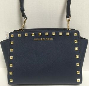 NEW-Michael-Kors-Medium-Selma-Gold-Studs-Navy-Saffiano-Leather-Crossbody-Handbag