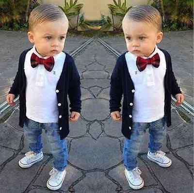 Outfits & Sets 3PC NEW Baby boy gentleman Pure cotton coat, t-shirts, jeans 2-7T