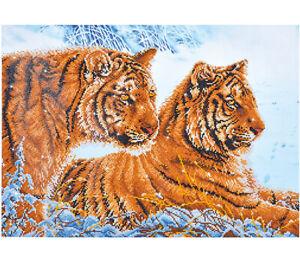 Diamond-Painting-Kit-Dotz-5D-3D-TIGERS-IN-THE-SNOW-72-x-52cm-Big-Cat-Winter