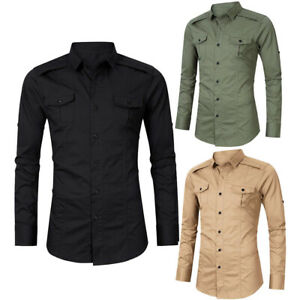 Mens-Long-Sleeve-Cargo-Work-Casual-Shirts-Military-Tactical-Dress-Shirts-Tops