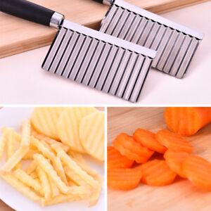 Edelstahl-Wellenschneider-Kartoffelchip-GemUse-Garniermesser-Frites-Kueche-Tool-P