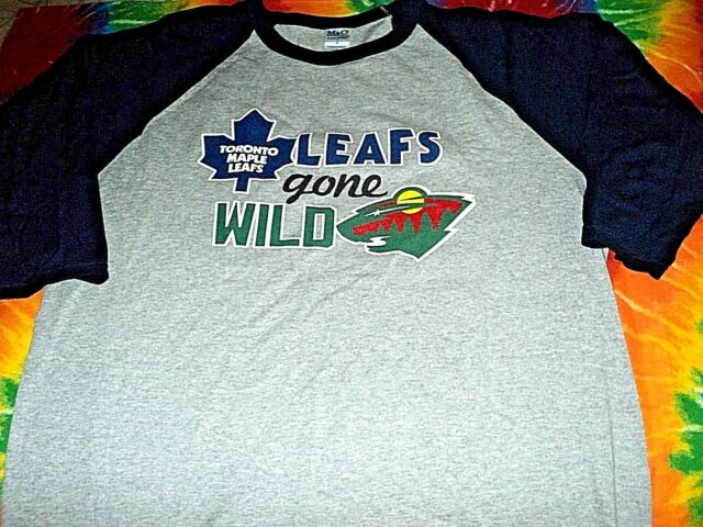 TORONTO MAPLE LEAFS MINNESOTA WILD Road Trip NEW Raglan Sleeve T Shirt Size L