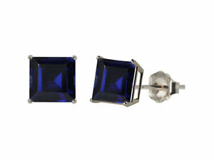 2 Ct Blue Sapphire Princess Cut Stud Earrings 14Kt White Gold