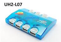 Usb 2.0 7-port Super Slim Compact Hub W/ Colored Leds, Cablesonline Uh2-l07