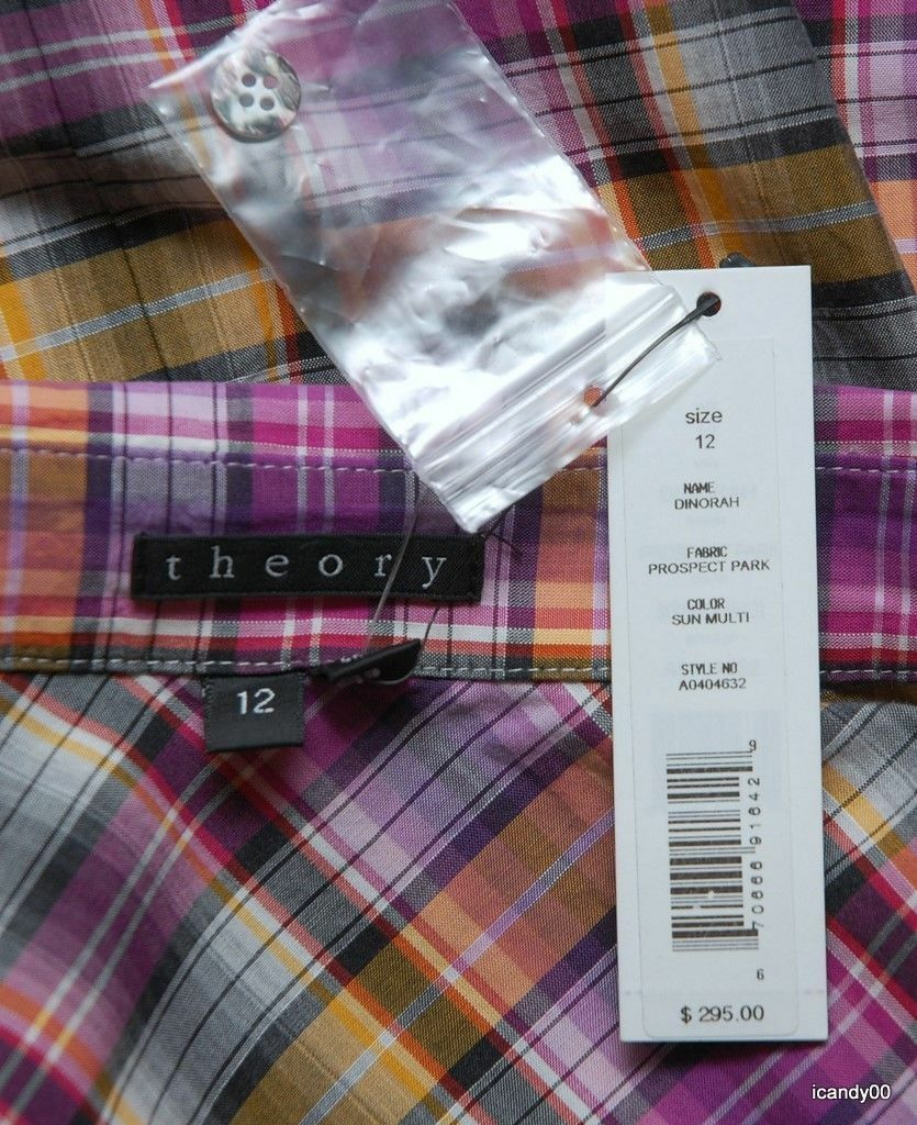 e81549cb4d0 ... Nwt 295 Theory Dinorah Plaid Cotton Cotton Cotton Shirt Dress Blouse  Tunic Top Sun Multi 10 ...