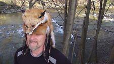 red fox full mounted face mountain man fur hat.. raccoon beaver coyote pelt hide