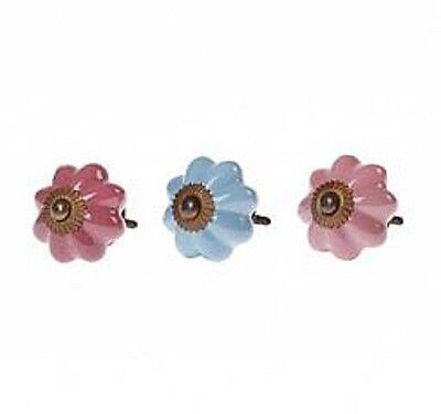 Blue Pink Ceramic Flower Door Drawer Knob Vinatge Shabby Chic Owls