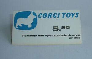 Présentoir de magasin de jouets corgi hollandais des années 1960, Marlin Rambler Fastback - Superbe menthe