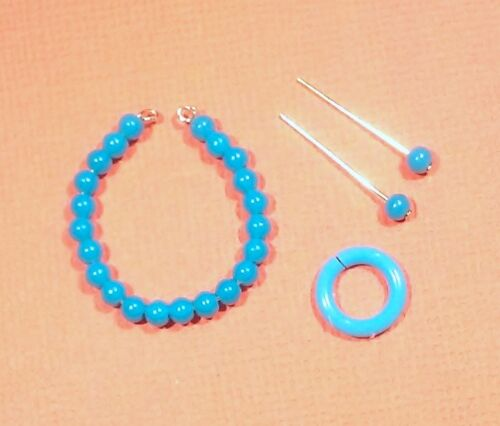 Barbie Dreamz NEON BLUE MOD Round Pearl Bead Necklace /& ERs Bangle Doll Jewelry