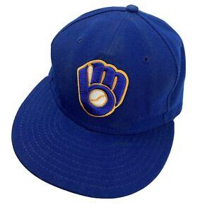 Milwaukee Brewers New Era Ball Cap Hat Fitted 7 1/4 Baseball