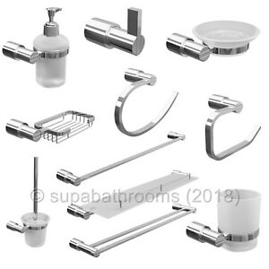 Modern Chrome Double Towel Rail Bar Bathroom Accessories Lilly Range