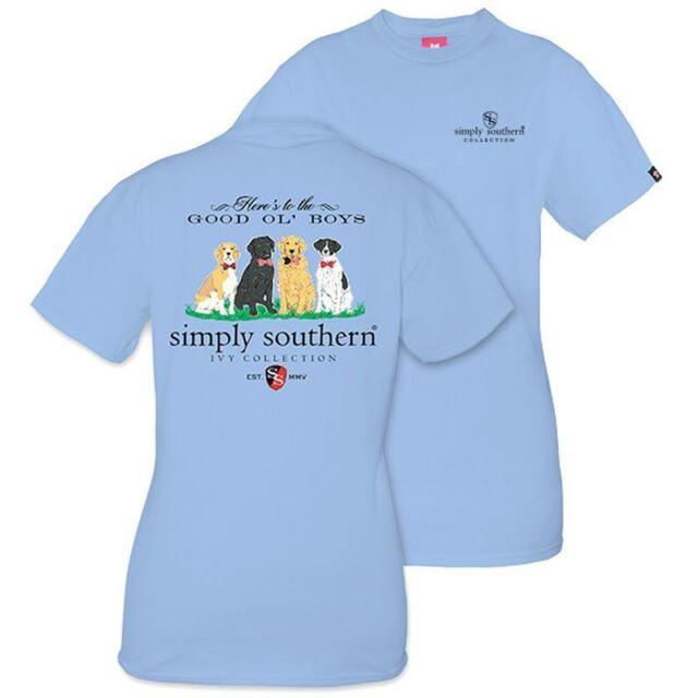 6a89461a8 Simply Southern Short Sleeve T Shirt Womens Blue Good OL Boys Dog XL X Large