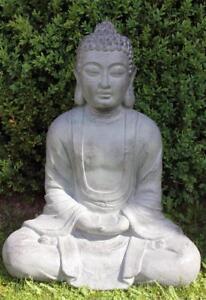 XXXL-Grosser-Buddha-80-cm-Steinfigur-Garten-Deko-Figur-Skulptur-Feng-Shui-sitzend