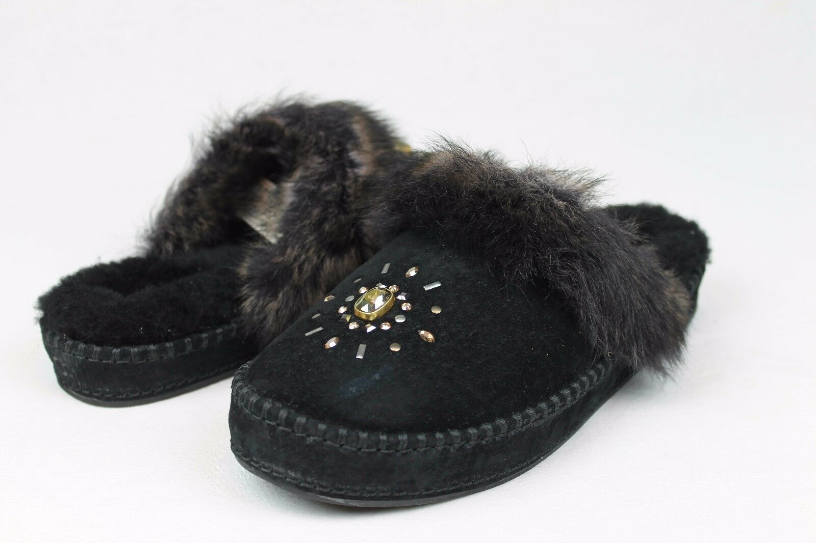 ce2f1f4aa35 UGG Australia Aira Crystals Suede Sheepskin Black Slippers Womens Size 5 US