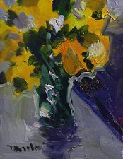 JOSE TRUJILLO ORIGINAL OIL CANVAS PAINTING IMPRESSIONIST YELLOW BOUQUET FLOWERS