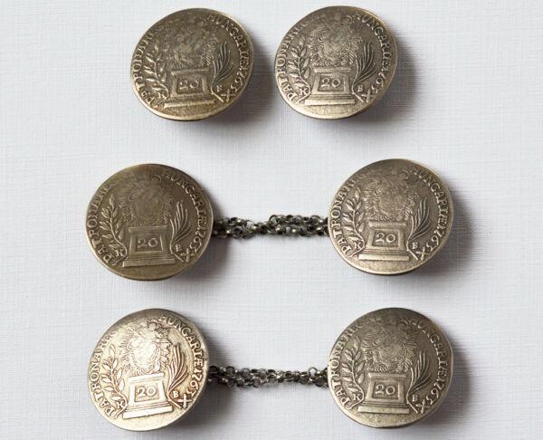 2 Münzknöpfe Und 1 Paar Manschettenknöpfe Maria Theresia 835 Silber 19. Jh.