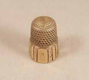 Antique Simons Brothers Silver/ Gilt Thimble - Size 8