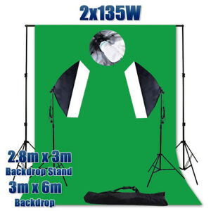 Large 3x6m Green Screen Photo Soft Box Video Softbox Lighting Backdrop Stand Kit