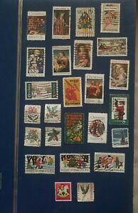 Mixed lot of 25 Vintage Christmas Stamps
