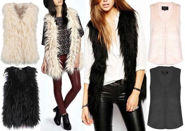 New Ladies Faux Fur Trendy Sleeveless Gilet Top Waistcoat Jacket Coat Size 8-14