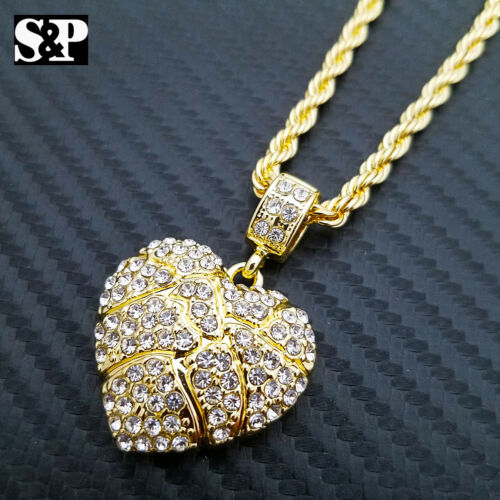 """Iced Out Gold PT Golden Nugget Heart Pendant /& 24/"""" Rope Chain Hip Hop Necklace"""