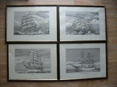 Aus Dem Ausland Importiert 4 Alte Segelschiffbilder In Holzrahmen Mit Glas Bilder Segelschiff Motiv