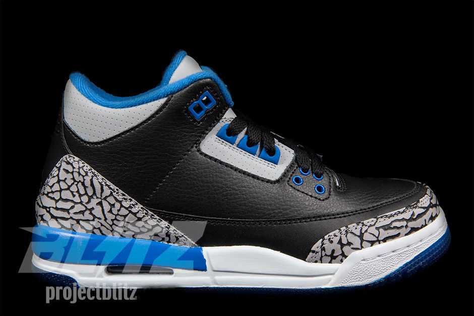 AIR JORDAN 3 RETRO BG GS SPORT bleunoir