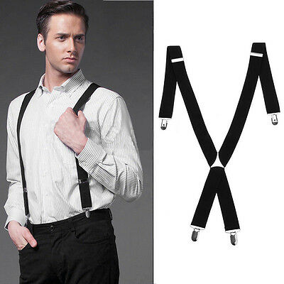 35MM Plain Black Mens Braces Suspenders Heavy Duty Adjustable Unisex Elastic New