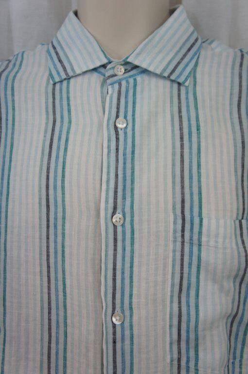 The Men's Store Bloomingdales Mens Casual Shirt Sz L bluee Multi Linen Long Slee