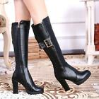 Women Knee High Boots Leather buckle platform pointed Thick high Heel shoes#256