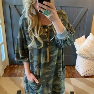 Details about 1X Plus Size Camouflage CAMO Pocketed Sweatshirt Dress Womens  XL NWT Made in USA