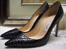 Manolo Blahnik Women's BB Patent Leather Leopard-Print Pumps Shoes Size 40