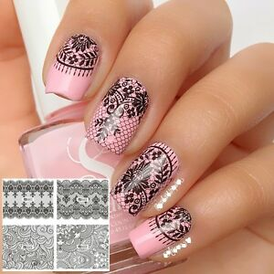 Image Is Loading Nail Art Water Decals Stickers Transfers Black Lace