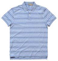 *NEW* J.Crew Men's Striped Textured Cotton Polo Shirt - Light Blue Medium